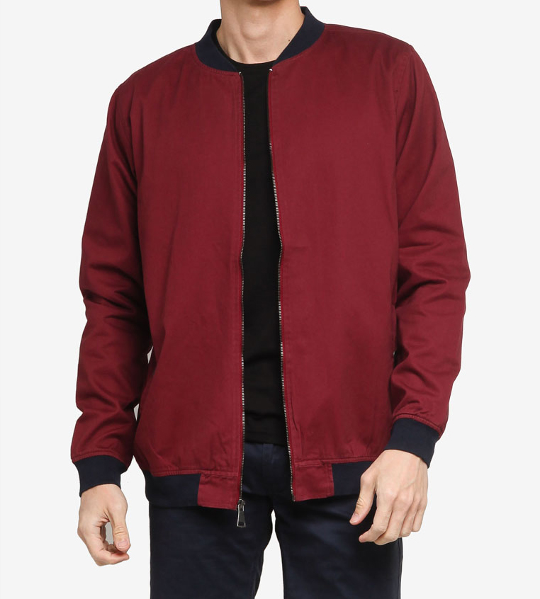Classic Bomber jacket in burgundy office wear casual